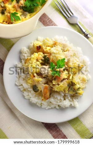 Chicken breast and cauliflower casserole with rice - stock photo