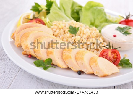 chicken breast and vegetables