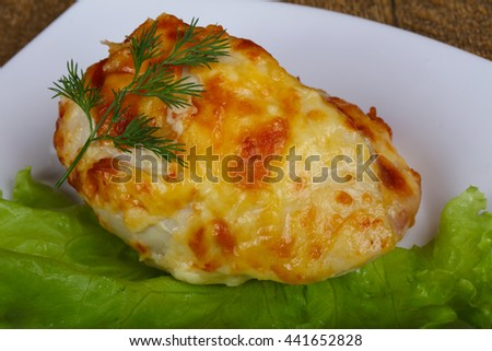 Chicken breast baked with cheese and bacon