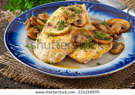 Chicken breast grilled with mushrooms