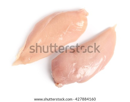 Chicken breast. Isolated on a white background. Directly Above. - stock photo