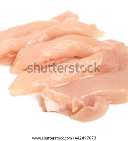 Chicken breast strips. Isolated on a white background.