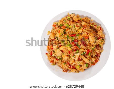 Chicken Breast with Rice and vegetables. top view. isolated on white