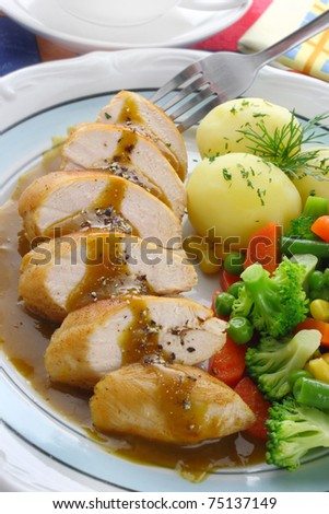 Chicken breast with vegetables and sauce - stock photo