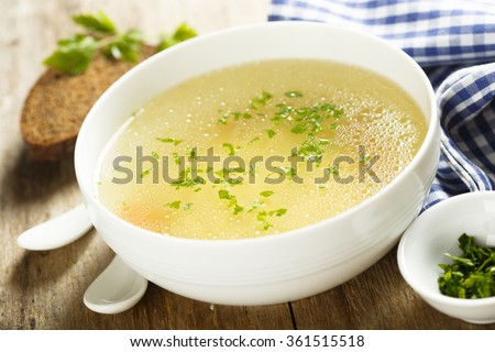 Chicken broth with herbs