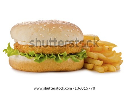 Chicken burger, isolated on white background. Close up. - stock photo