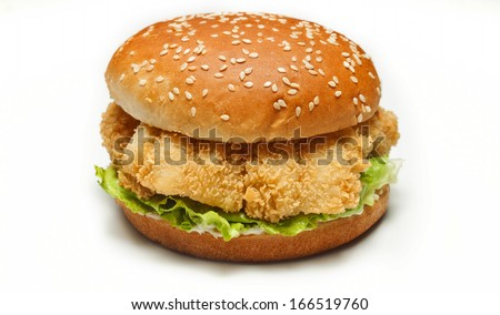 chicken burger on white background - stock photo