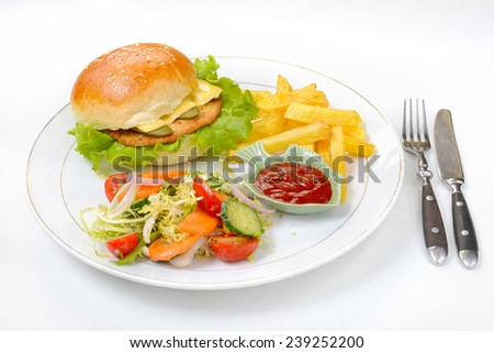 Chicken burger served with fries and salad - stock photo