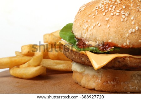 Chicken burger with cheese  - American food - fast food - junk food - meal with chicken meat - stock photo