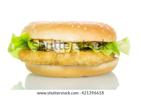 Chicken burger with lettuce and cabbage isolated on white background. - stock photo