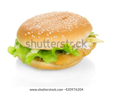 Chicken burger with lettuce, Chinese cabbage isolated on white background. - stock photo