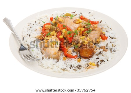 Chicken casserole with basmati and wild rice - stock photo