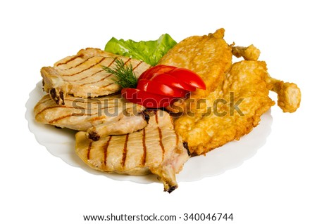 chicken chops grilled on the plate, isolated on white background - stock photo