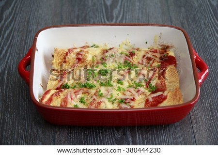 Chicken & Chorizo Enchiladas - stock photo