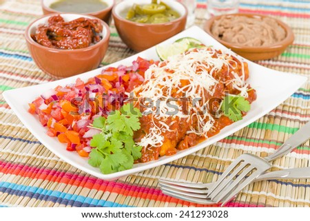 Chicken & Chorizo Enchiladas - Mexican soft tortilla filled with chorizo and chicken cooked in spicy tomato sauce. Served with salsa, refried beans and jalapenos. - stock photo