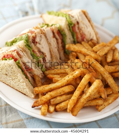 chicken club sandwich on a white plate with spicy french fries. Very Shallow depth of field. - stock photo