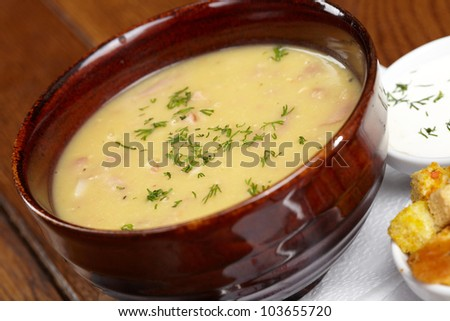Chicken creamy soup with croutons - stock photo