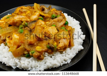 Chicken Curry a popular oriental dish available at chinese restaurants - stock photo