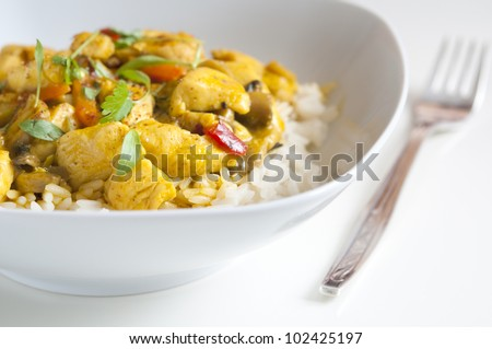 Chicken curry in a white bowl with fork