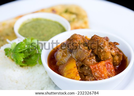 Chicken curry over steamed white rice on white plate - stock photo