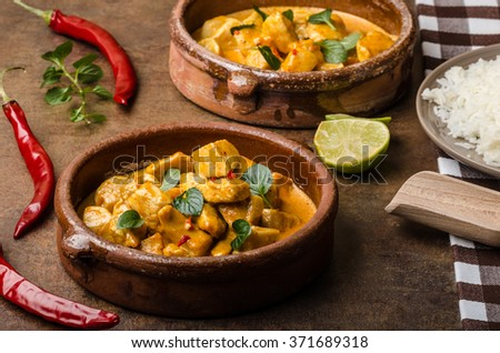 Chicken curry with basmati rice - stock photo