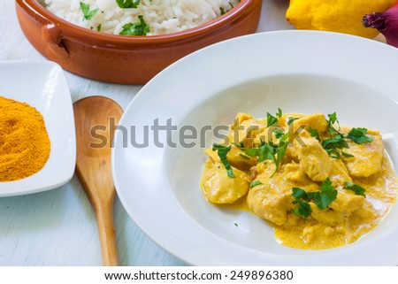 chicken curry with boiled rice and spices - stock photo