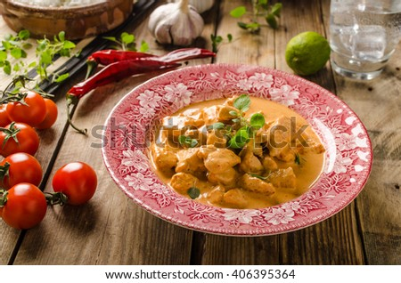 Chicken curry with herbs on old style plate, rustic styled photo - stock photo