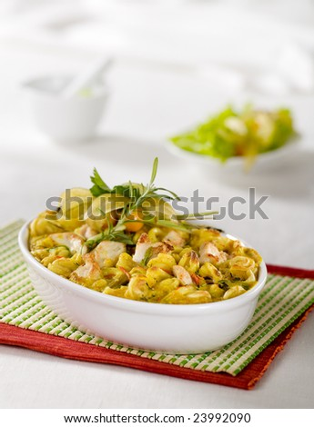 Chicken curry with pasta - stock photo
