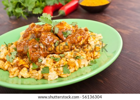 Chicken curry with rice - stock photo