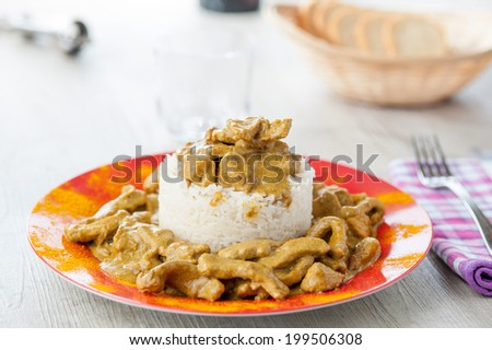 chicken curry with rice Basmatic - stock photo