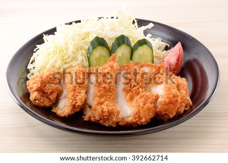 chicken cutlet,Japanese food - stock photo
