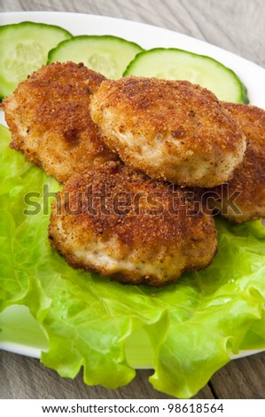 chicken cutlet with vegetables - stock photo