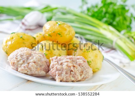 chicken cutlets with potato - stock photo