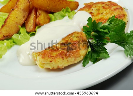 Chicken cutlets with roasted potatoes