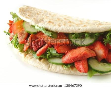 chicken donner naan bread sandwich - stock photo