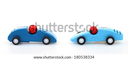 Chicken: driving towards each other almost colliding - stock photo