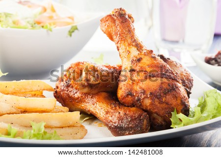 Chicken Drumsticks. Selective focus - stock photo