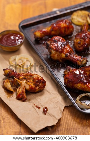 Chicken Drumsticks with Barbecue Sauce. Selective focus. - stock photo