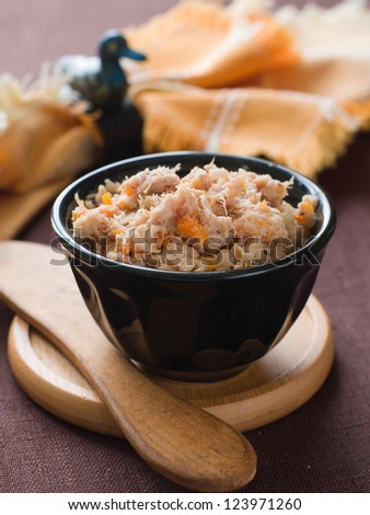Chicken, duck or goose pate (rillettes) in bowl, selective focus