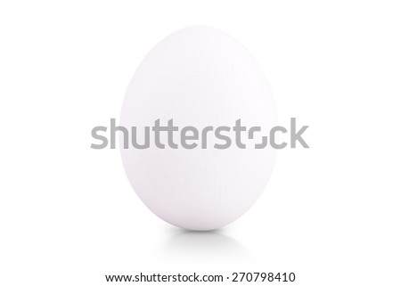 chicken egg with reflection isolated on white background