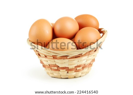 Chicken eggs in basket isolated on white