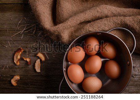 chicken eggs in pan on rustic wooden background with straw and burlap - stock photo