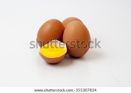 Chicken eggs on isolated white background.