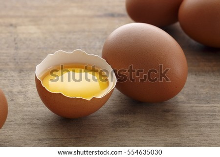 Chicken eggs on wooden table