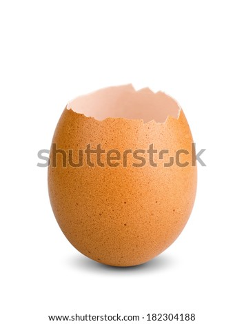 chicken empty eggshell on isolated  white background - stock photo