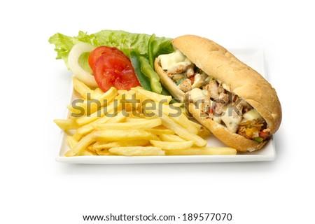 chicken Fajita, submarine roll sandwich - stock photo