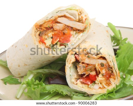 Chicken fajita tortilla wrap sandwich