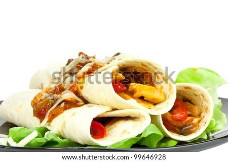 Chicken Fajitas - stock photo