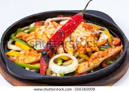 Chicken Fajitas with Vegetables and Tortillas