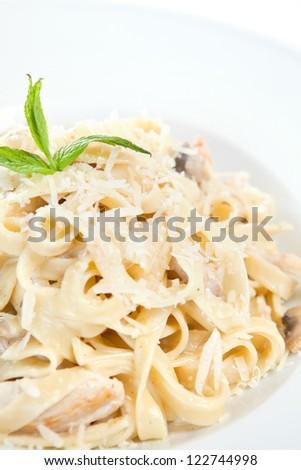 Chicken fettuccine alfredo in a plate - stock photo